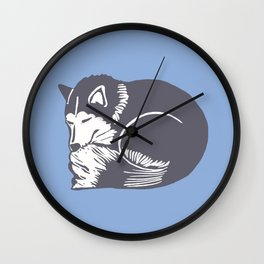 Sleeping Husky Dog Wall Clock