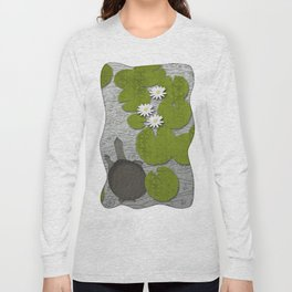 Water lilies with Florida Soft-shell Turtle Long Sleeve T-shirt