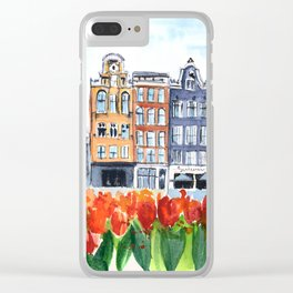 Amsterdam watercolor Clear iPhone Case