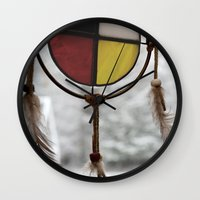medicine Wall Clocks featuring Medicine Wheel by Jessi Trafton