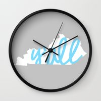 kentucky Wall Clocks featuring Kentucky Y'all by Alda & Company