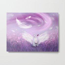 Under His Wings - Purple Gray Metal Print