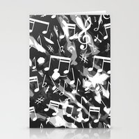 music notes Stationery Cards featuring MUSIC NOTES  by raspaintings