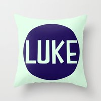 luke hemmings Throw Pillows featuring luke by Amy Lovesowls