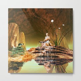The mysterious underwater cave Metal Print