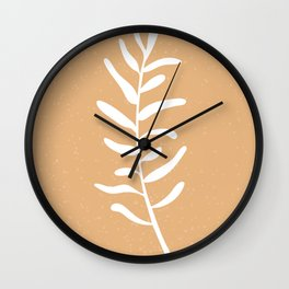 Modern minimal style olive tree branch illustration, brown and white Wall Clock