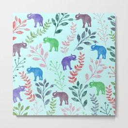 Watercolor Flowers & Elephants II Metal Print