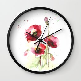 Watercolor flowers of poppy Wall Clock