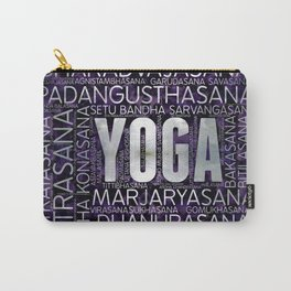 Yoga Asanas / Poses Sanskrit Word Art  Pearl on amethyst Carry-All Pouch
