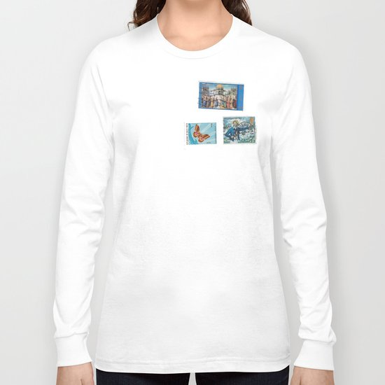 Postage Bleu Long Sleeve T-shirt