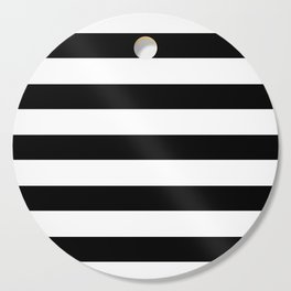 Midnight Black and White Stripes Cutting Board