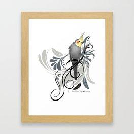 Gray Cockatiel Framed Art Print