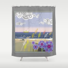 Sea landscape with wildflowers and ferry boat Shower Curtain