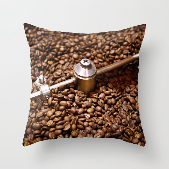 Freshly roasted coffee beans Throw Pillow