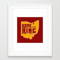 lebron Framed Art Prints featuring Home of the King (Red) by Denise Zavagno