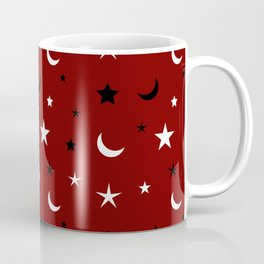 Red background with black and white moon and star pattern Coffee Mug