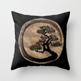 Enso Zen Circle and Bonsai Tree Gold Throw Pillow