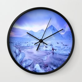 Freezing Mountain Lake Landscape : Blue Wall Clock