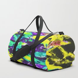 psychedelic splash painting abstract texture in yellow blue green purple Duffle Bag