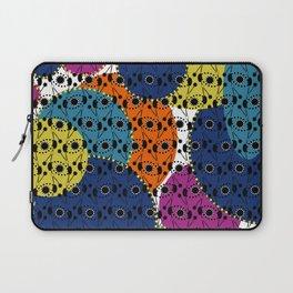 Ethnic style pattern wax, geometric abstract shapes colorful, large round purple, khaki, blue,orange Laptop Sleeve
