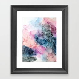 Heavenly Pastels: Original Abstract Ink Painting Framed Art Print
