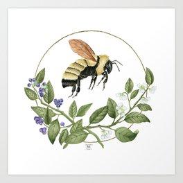 Bombus & Blueberries Art Print