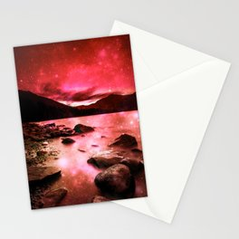Magical Mountain Lake Red Stationery Cards