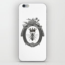 Queen Bee   Vintage Bee with Crown   Black, White and Grey   iPhone Skin