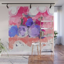 Flower Power in Pink, Purple, Peach and White Wall Mural