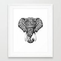 ornate elephant Framed Art Prints featuring Ornate Elephant Head by BIOWORKZ