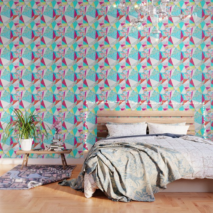 Psychedelic Geometric Triangle Polygon Pattern Abstract In Blue Pink Yellow Orange Wallpaper