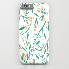 Mustard & Green Leaves iPhone Case