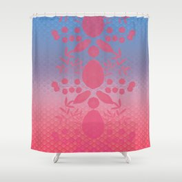 Floral Silhouette Pattern Shower Curtain