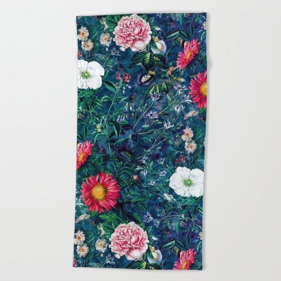 Spring Flowers Dark Beach Towel