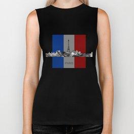 Paris, France skyline WB BW with French flag Biker Tank