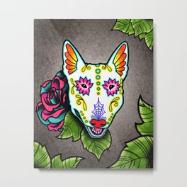 Bull Terrier - Day of the Dead Sugar Skull Dog Metal Print