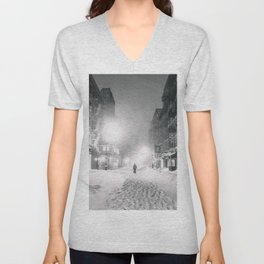 Alone in a Blizzard - New York City Unisex V-Neck
