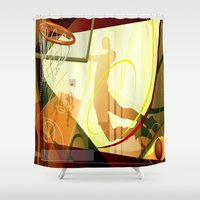 basketball Shower Curtains featuring Basketball by Robin Curtiss