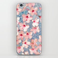Shabby Chic Hibiscus Patchwork Pattern in Pink & Blue iPhone & iPod Skin