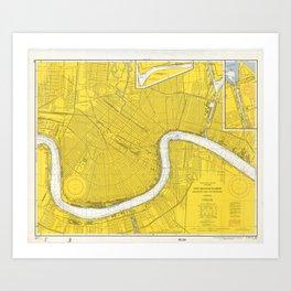 Vintage Map of New Orleans LA (1966) Art Print