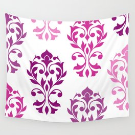 Heart Damask Art I Pinks Plums White Wall Tapestry