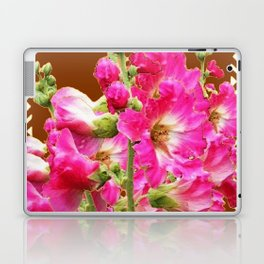 Coffee Brown Fuchsia Pink Holly Hocks Pattern Flora Art Laptop & iPad Skin