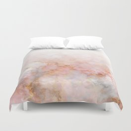 Beautiful Pink and Gold Ombre marble under snow Duvet Cover