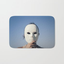 Mask enigmatic girl blue sky Bath Mat