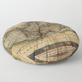 Old World Map print from 1564 Floor Pillow