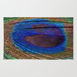 Peacock feather close up Rug