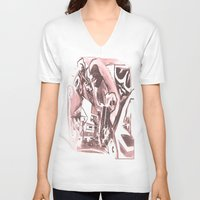 madonna V-neck T-shirts featuring La Madonna by Davide Spinelli