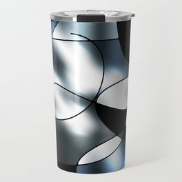 ABSTRACT CURVES #1 (Black, Grays & White) Travel Mug