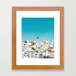 Urban Poster, Spain, Printable Photography, Architecture, Building, Palm Tree, Wall Art, Blue, White Framed Art Print
