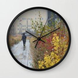 Walking in the rain in New York Wall Clock